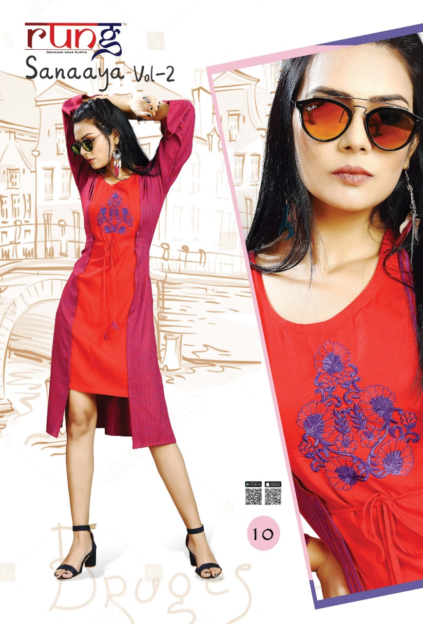 Buy Sanaaya Vol 2 Rung Kurti Catalog Online Wholesaler Lowest Price